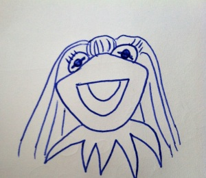 This is Kerm-me. Notice the bangs, long hair and eye lashes. A dead ringer for both of us, I know.