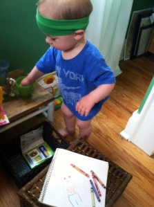 My drawing helper. Gotta love his get-up. And the lack of pants. He's still young enough to get away with a lack of clothing. Oh gad, am I raising a future shirtless old man???